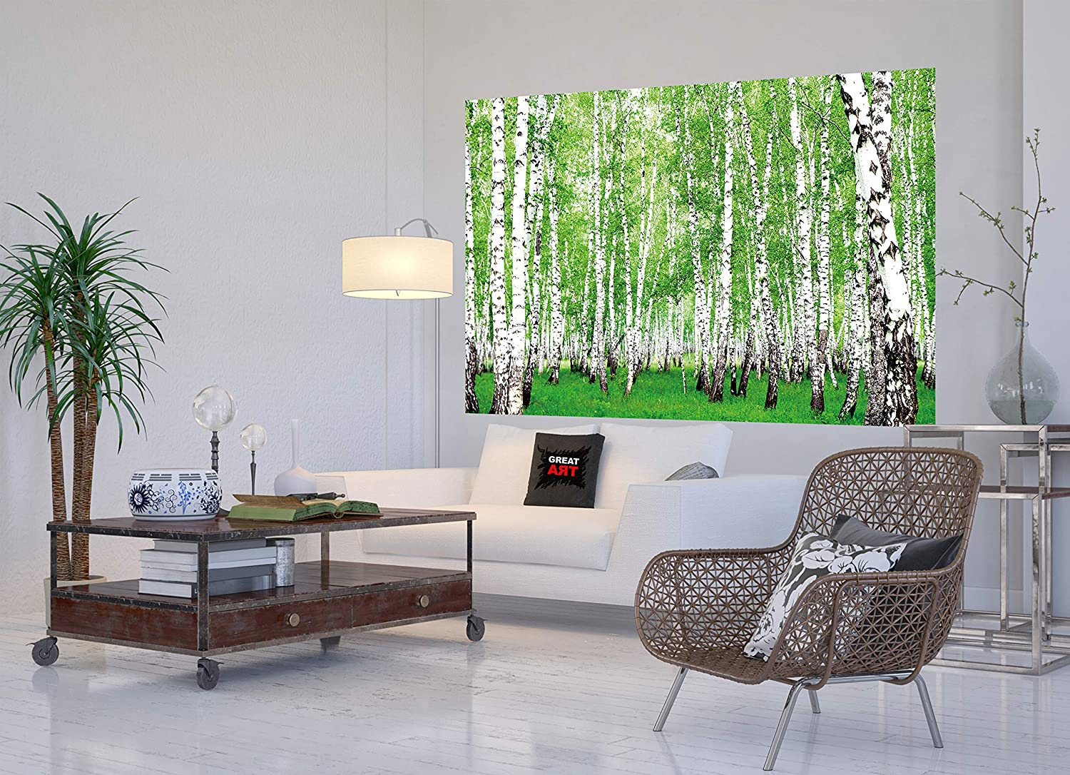 Amazon.com: XXL Mural The Birch Forest – – Póster de bosque ...