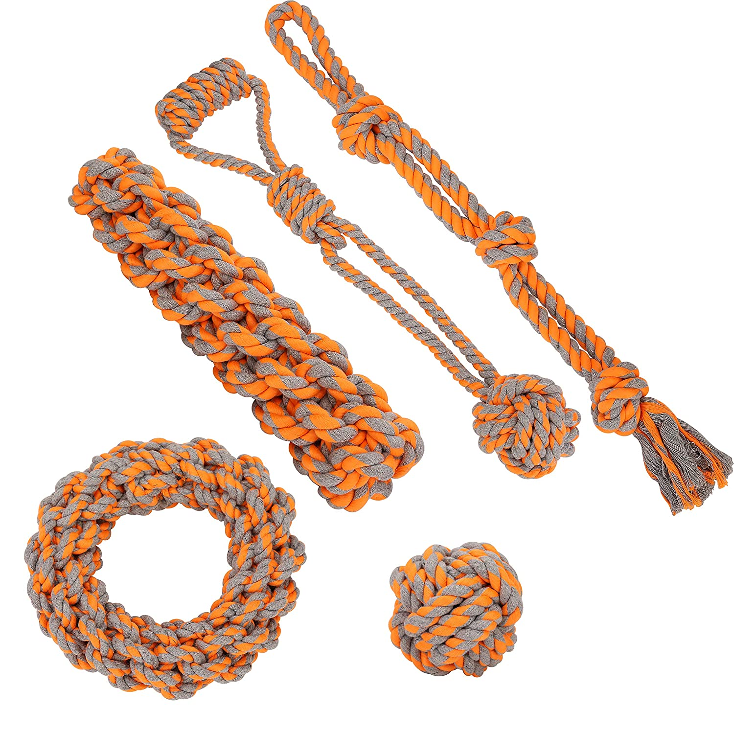 CHONGAI Puppy Dog Pet Rope Toys Medium to Large Dogs Set of 5 Nearly Indestructible Dog Toys