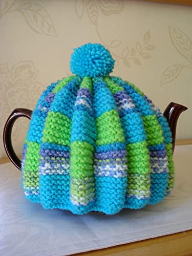 Vintage Retro Tea Cosy Cozy In Blues And Green Stripes To Fit Four