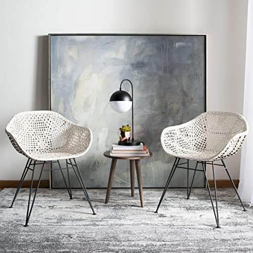 Safavieh Home Jadis White and Dark Grey Leather Woven Dining Chair
