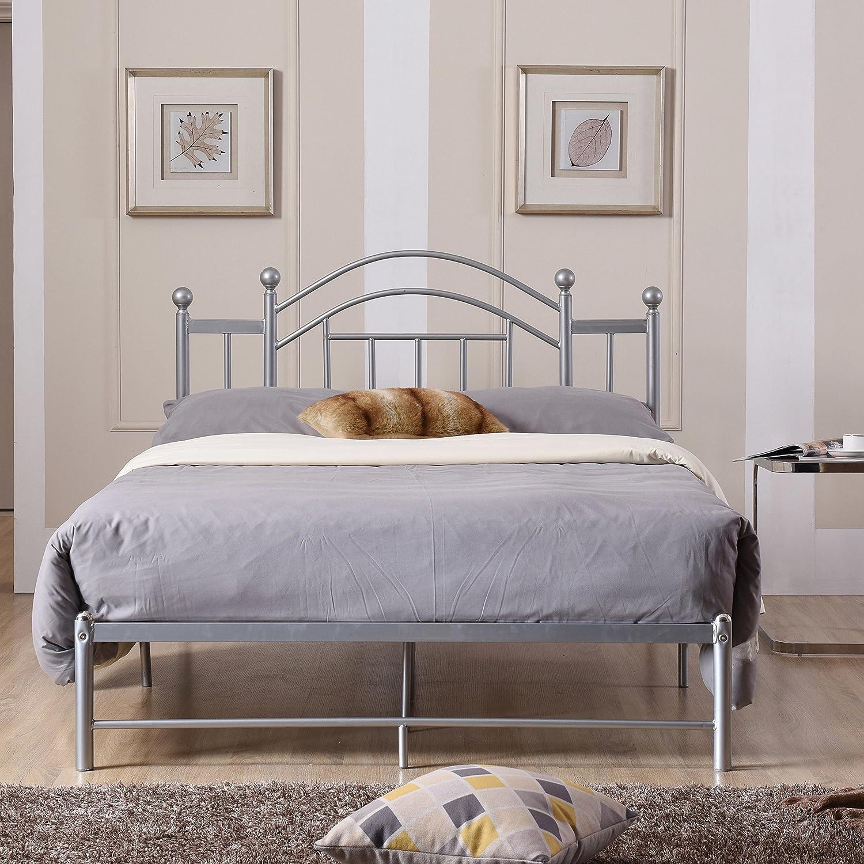 Amazon com premium platform bed elegant vintage inspired design furniture rest sleep bedroom home decor free ebook twin silver kitchen dining