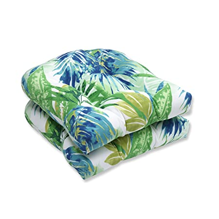 Pillow Perfect Outdoor Indoor Soleil Wicker Seat Cushion, Set of 2 Blue Green