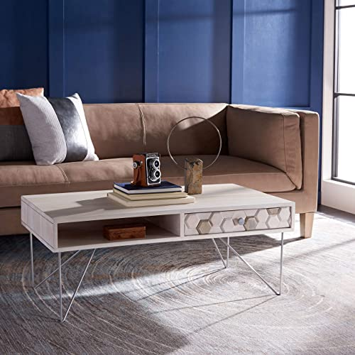 Safavieh Home Collection Raveena Mid-Century White Wash and Silver Hairpin Leg Coffee Table