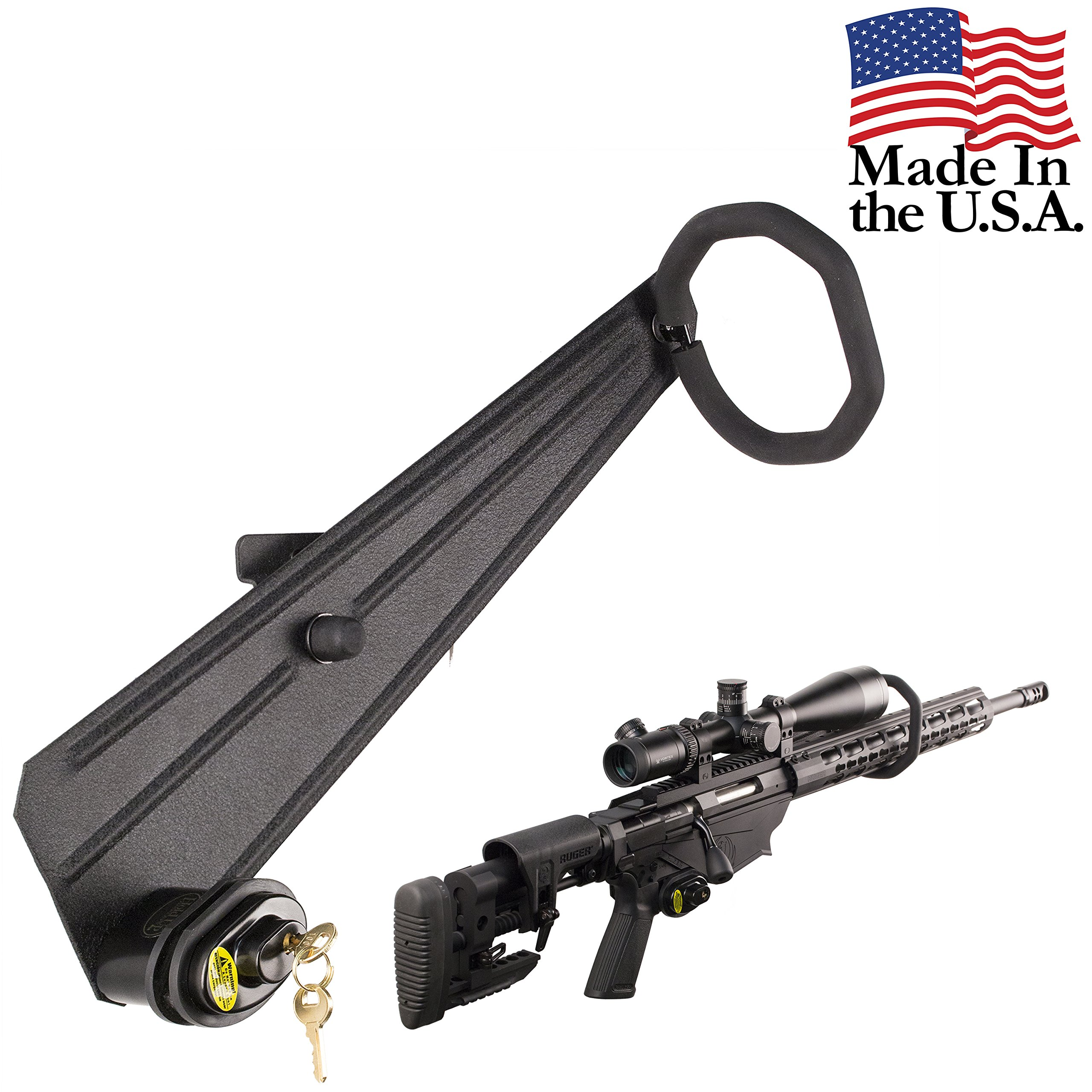 Hold Up Displays - Gun Rack with Black Trigger Lock Rifle Storage Holds Any Standard Shotgun or Rifle for Winchester Remington Ruger Firearms and More - Heavy Duty Steel - Made in USA (Black Lock) by Hold Up Displays