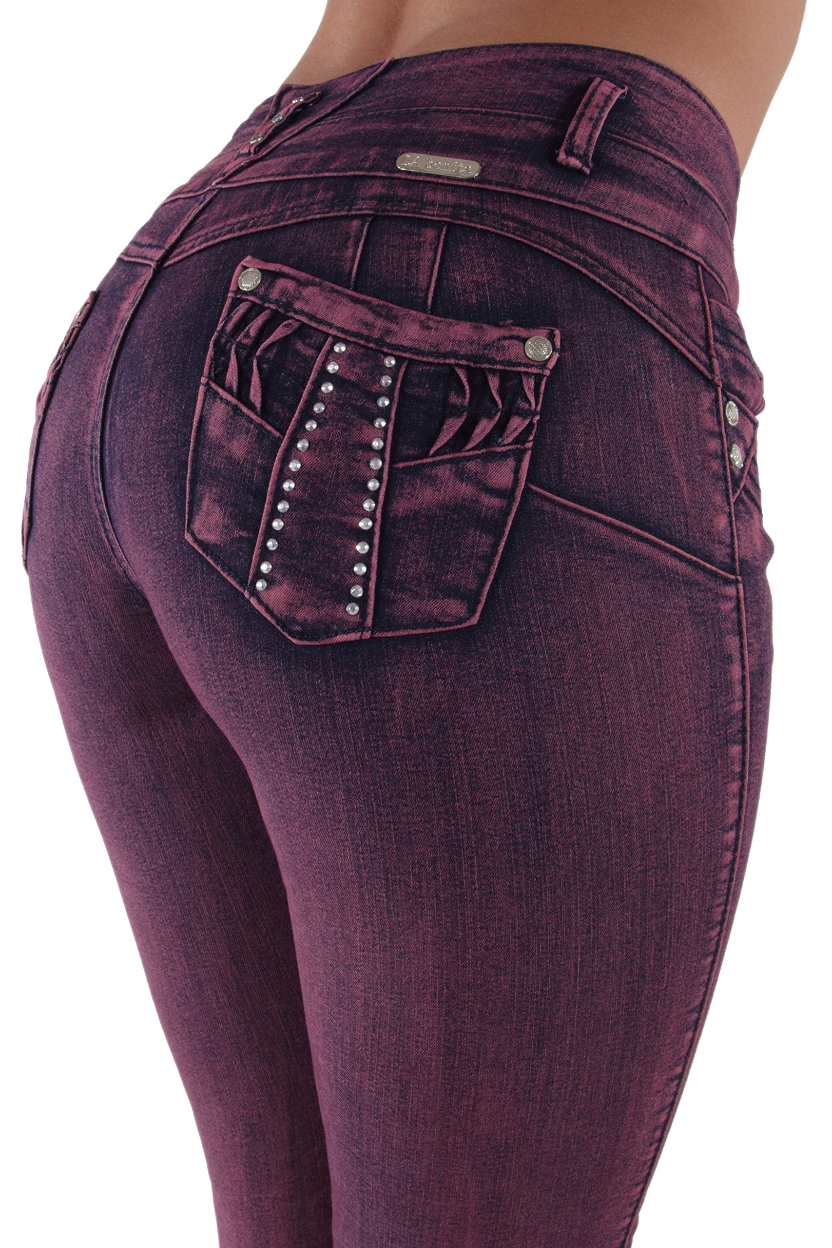 7Ae190MS - Plus Size, Butt Lift, Levanta Cola, Premium Skinny Jeans in Dark Pink Wash Size 22
