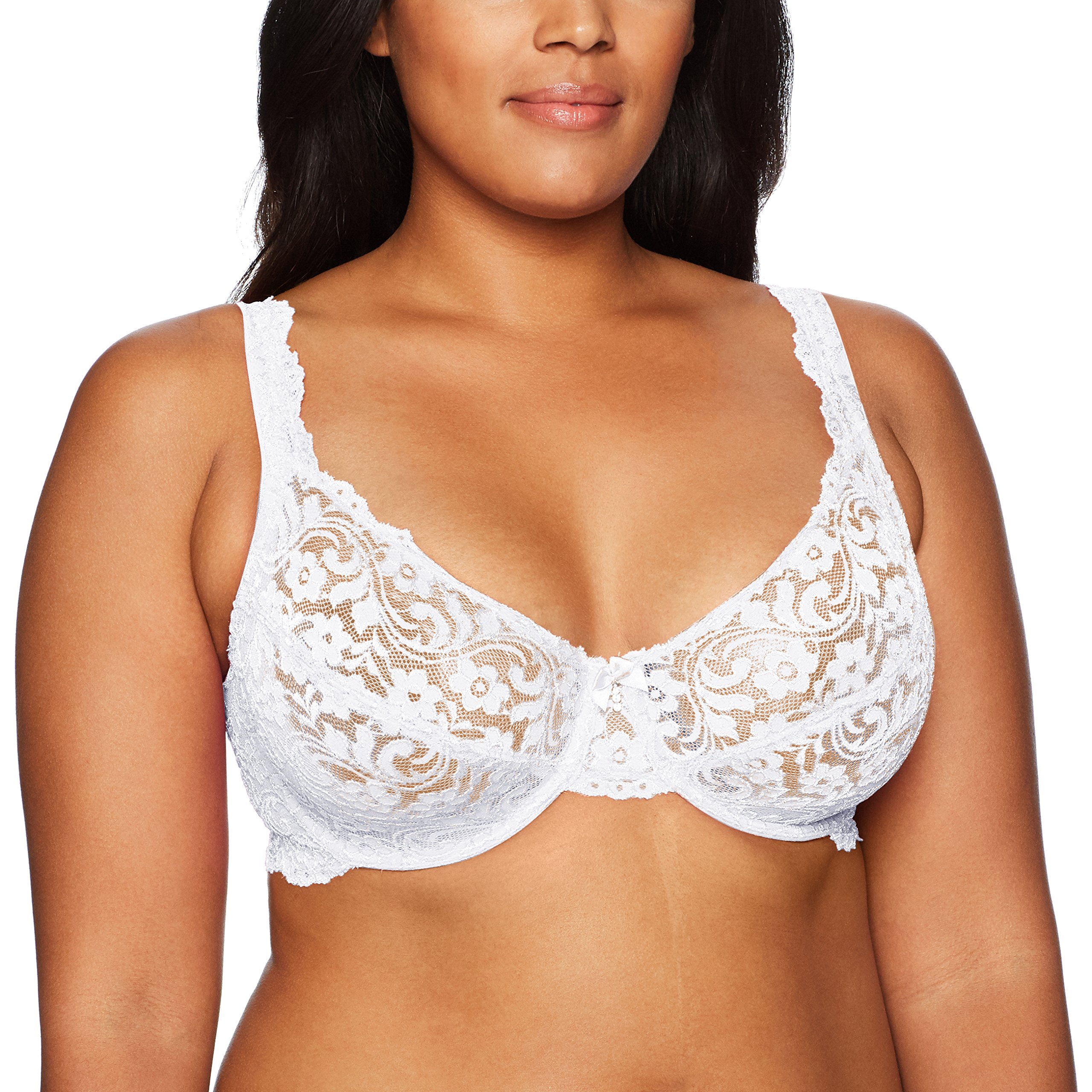 Smart+Sexy Women's Plus Size Curvy Signature Lace Unlined Underwire Bra with Added Support, White, 46DD