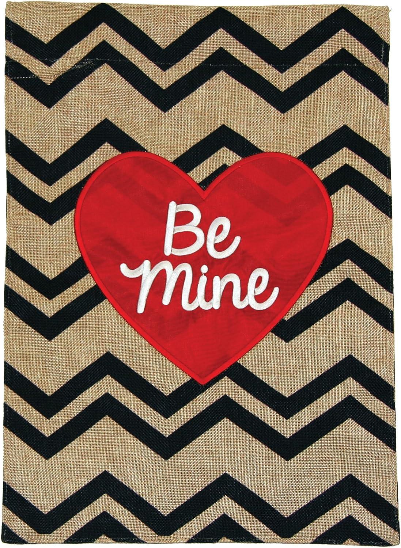 Toland Home Garden Be Mine Heart 12 x 18 Inch Decorative Cute Valentine Chevron Burlap Flag