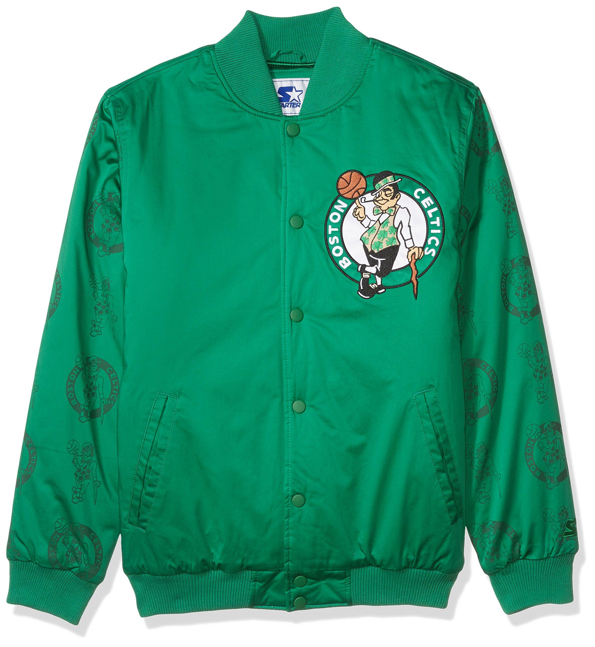 STARTER NBA Boston Celtics Men's Varsity Bomber Jacket, 3X, Green by STARTER (Image #1)