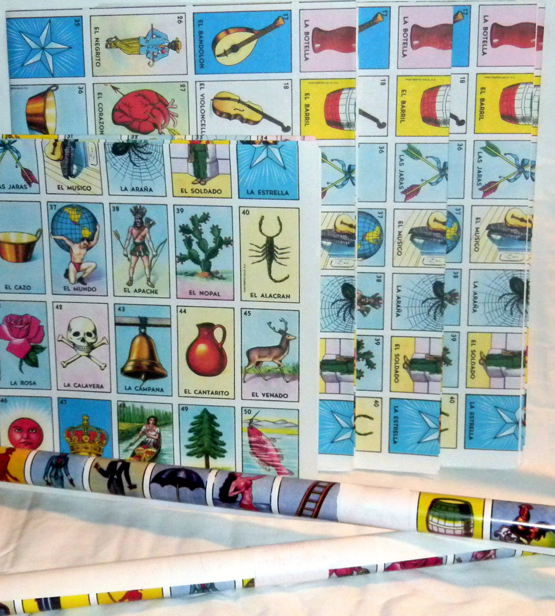 6 X Authentic Mexican Loteria Bingo Chalupa Game: Poster Rolls New