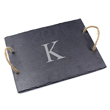 Cathy's Concepts Personalized Slate Serving Board, Letter K