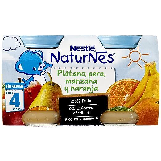 Nestlé Naturnes Alimento Infantil, plátano, pera, manzana y naranja - Paquete de 2 x 130 gr - Total: 260 gr: Amazon.es: Alimentación y bebidas