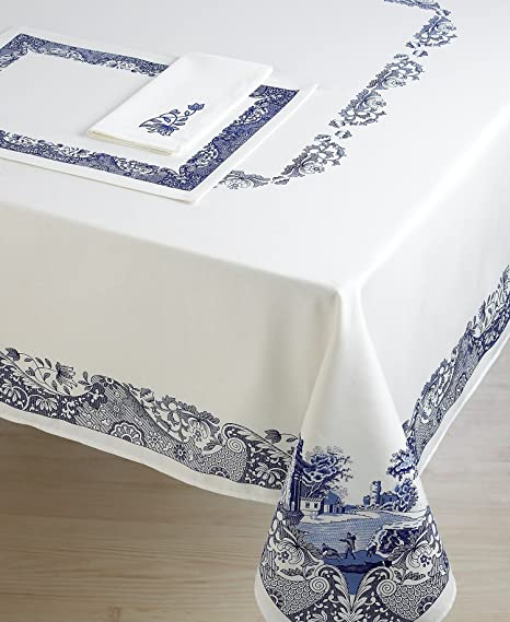 Genial Spode Blue Italian Embroidered Fabric Napkins