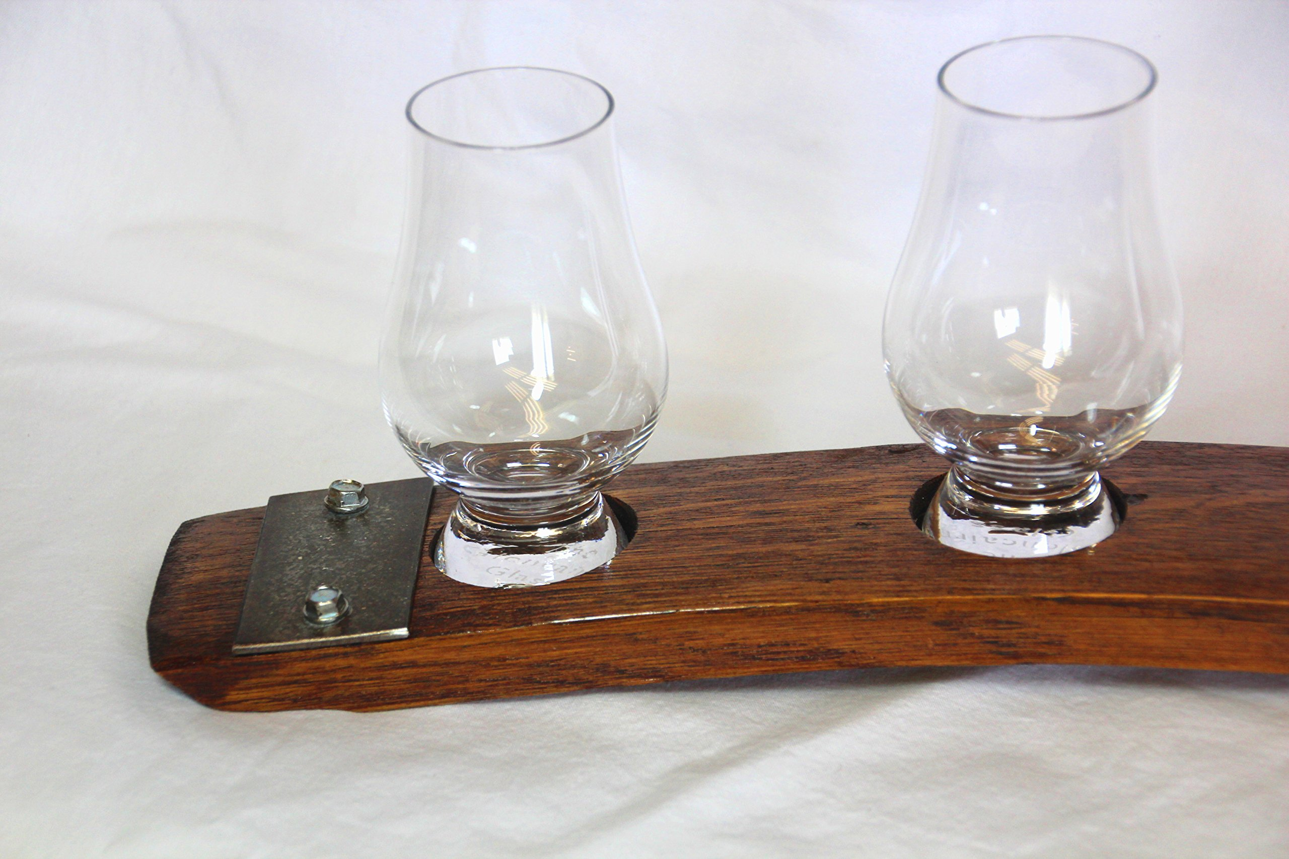 Premium Barrel Stave Whiskey Flight, Scotch Flight, Bourbon Flight, Crystal Glencairn Glass Flight (Red Mahogany) by Barrel-Art (Image #6)