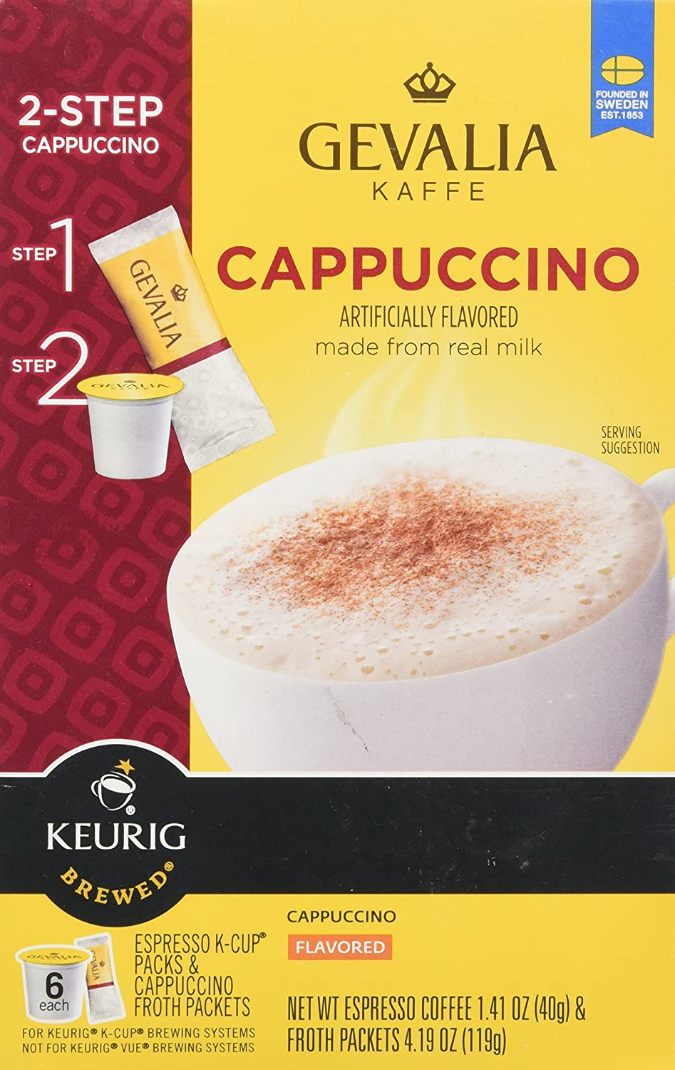 Gevalia Kaffe 2-Step Cappuccino (6 Espresso Coffee Cups & Cappuccino Froth Packets)