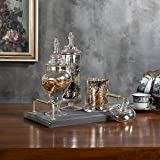 MyGift Set of 3 Silver Mercury Glass Apothecary