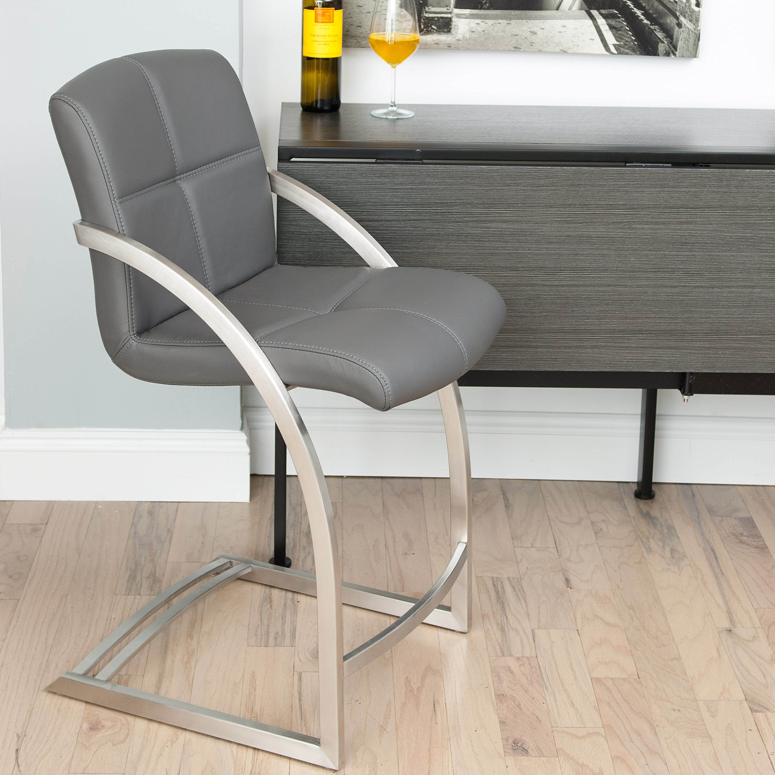 MIX Brushed Stainless Steel Faux Leather Grey 26-inch Seat Height Stationary Bar Stool