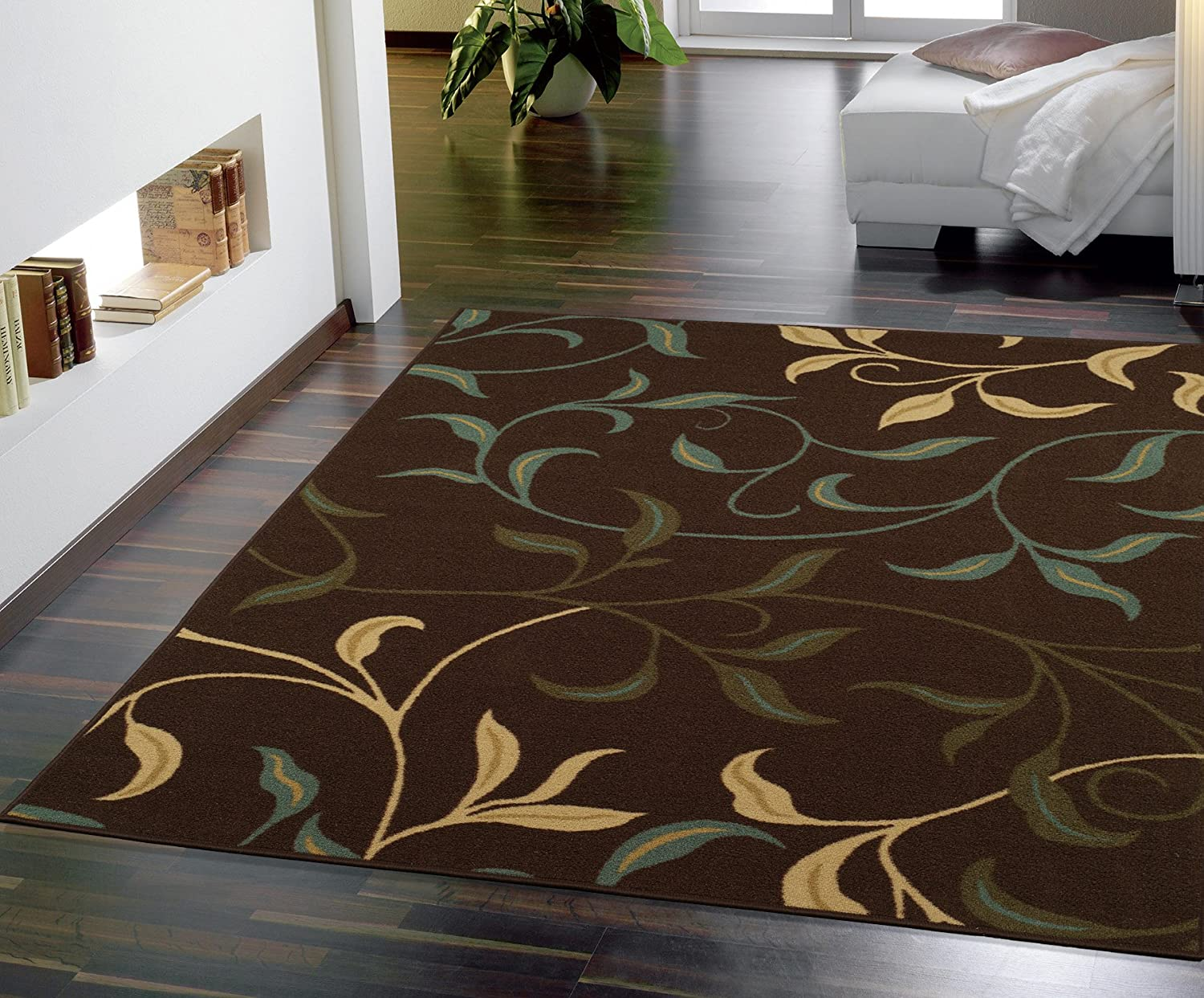 Ottomanson Ottohome Collection Contemporary Leaves Design Non-Skid Rubber Backing Modern Area Rug Chocolate Brown