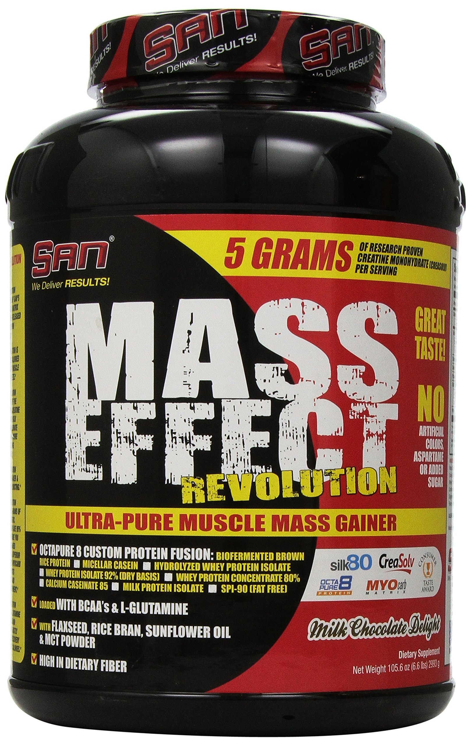SAN Nutrition Mass Effect Revolution Mass Gainer Powder, Milk Chocolate Delight, 6.5 Pounds