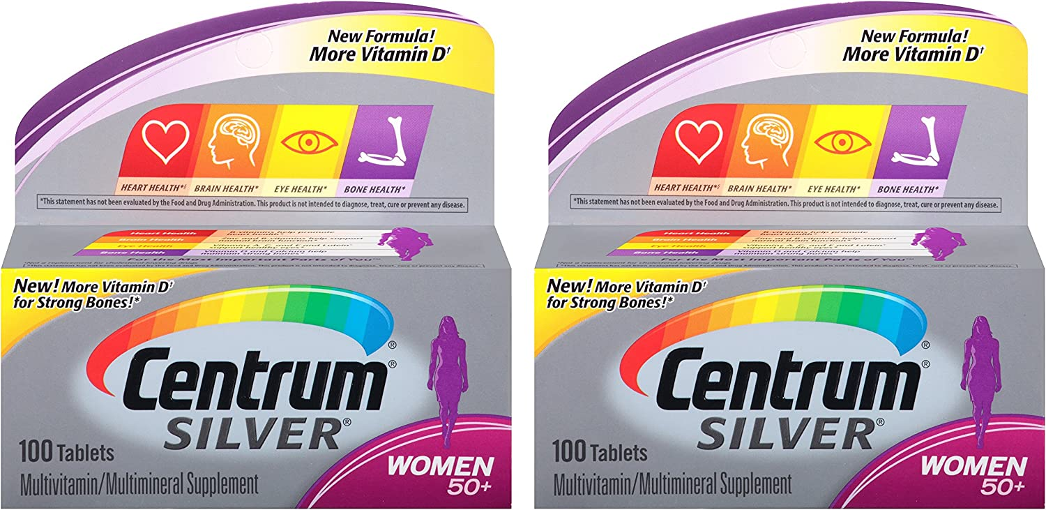 Centrum Silver Women 50 Multivitamin Multimineral Supplement Tablets, 100 Count Pack of 2