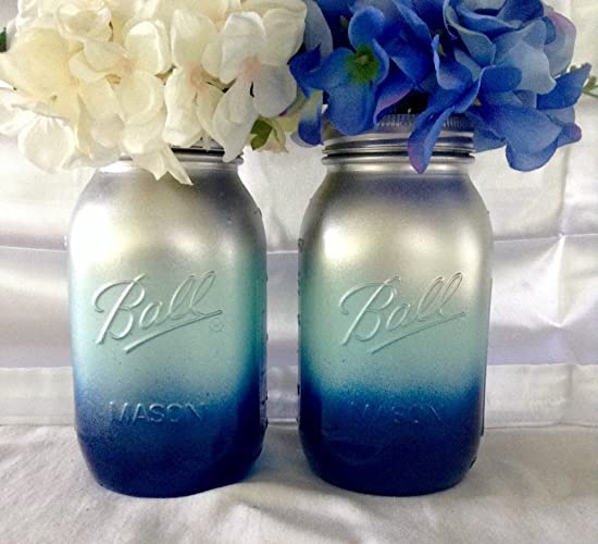 Set of 2 Silver, Aqua and Navy Mason Jars Centerpieces, Navy Blue and Silver