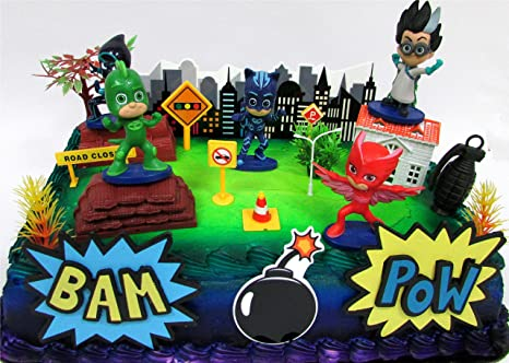 Amazoncom Super Hero PJ MASKS Deluxe Birthday Party Cake Topper