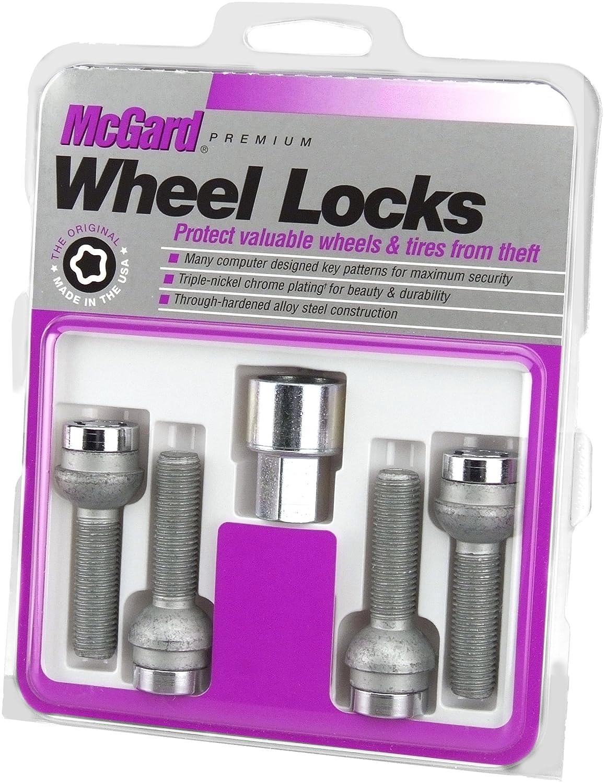 McGard 28018 Chrome Bolt Style Radius Seat Bolt Locks, M14 x 1.5 Thread Size, Set of 4
