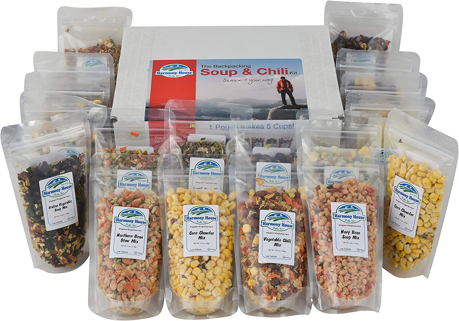 Harmony House Backpacking Soup and Chili Kit (Unseasoned) – 18 Count Variety Pack, Resealable Zip Pouches, For Cooking, Camping, Emergency Supply and More