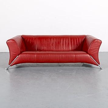 Amazon.de: Rolf Benz 322 Leder Sofa Rot Dreisitzer Couch ...