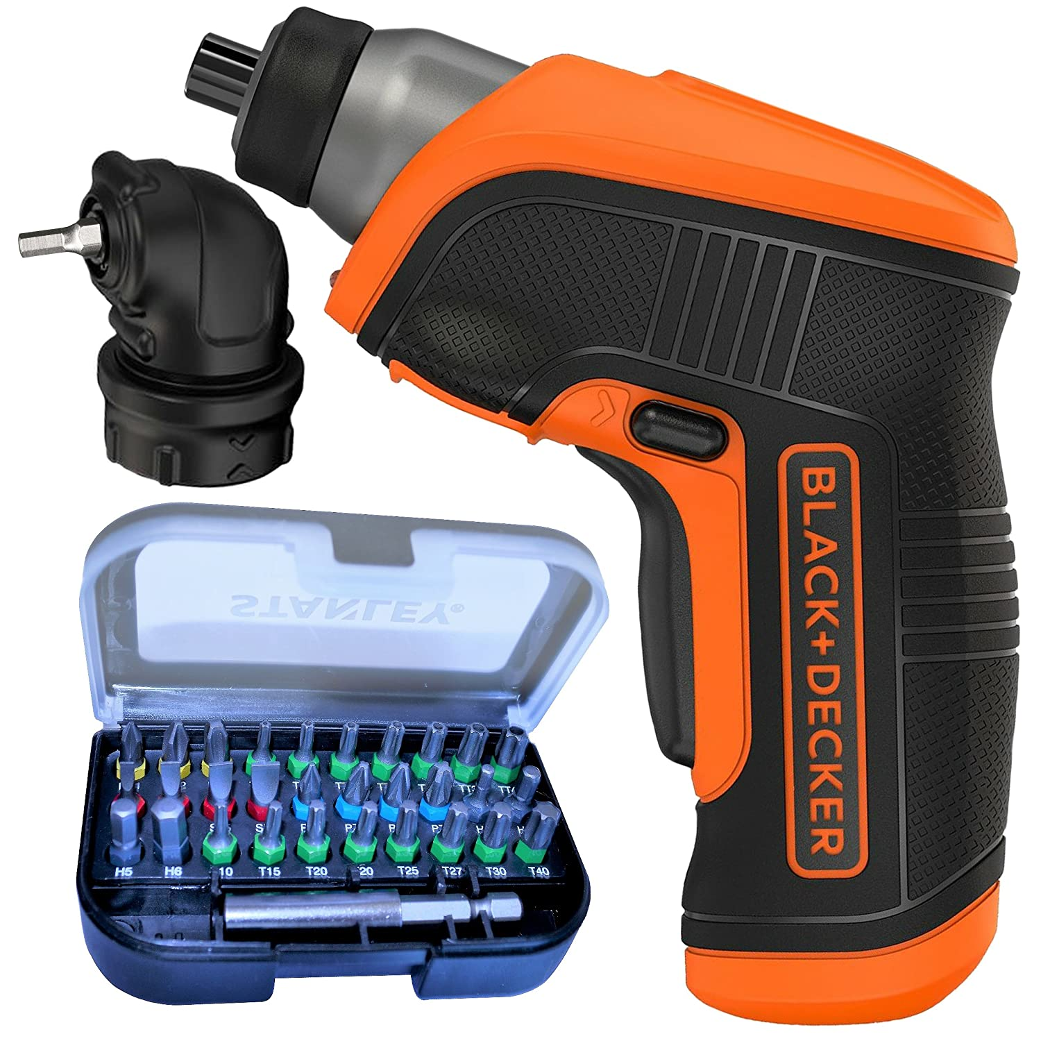 Black & Decker Compact Cordless Rechargeable Screwdriver with LED Light Includes Right Angle Attachment and 32 Screw Bits