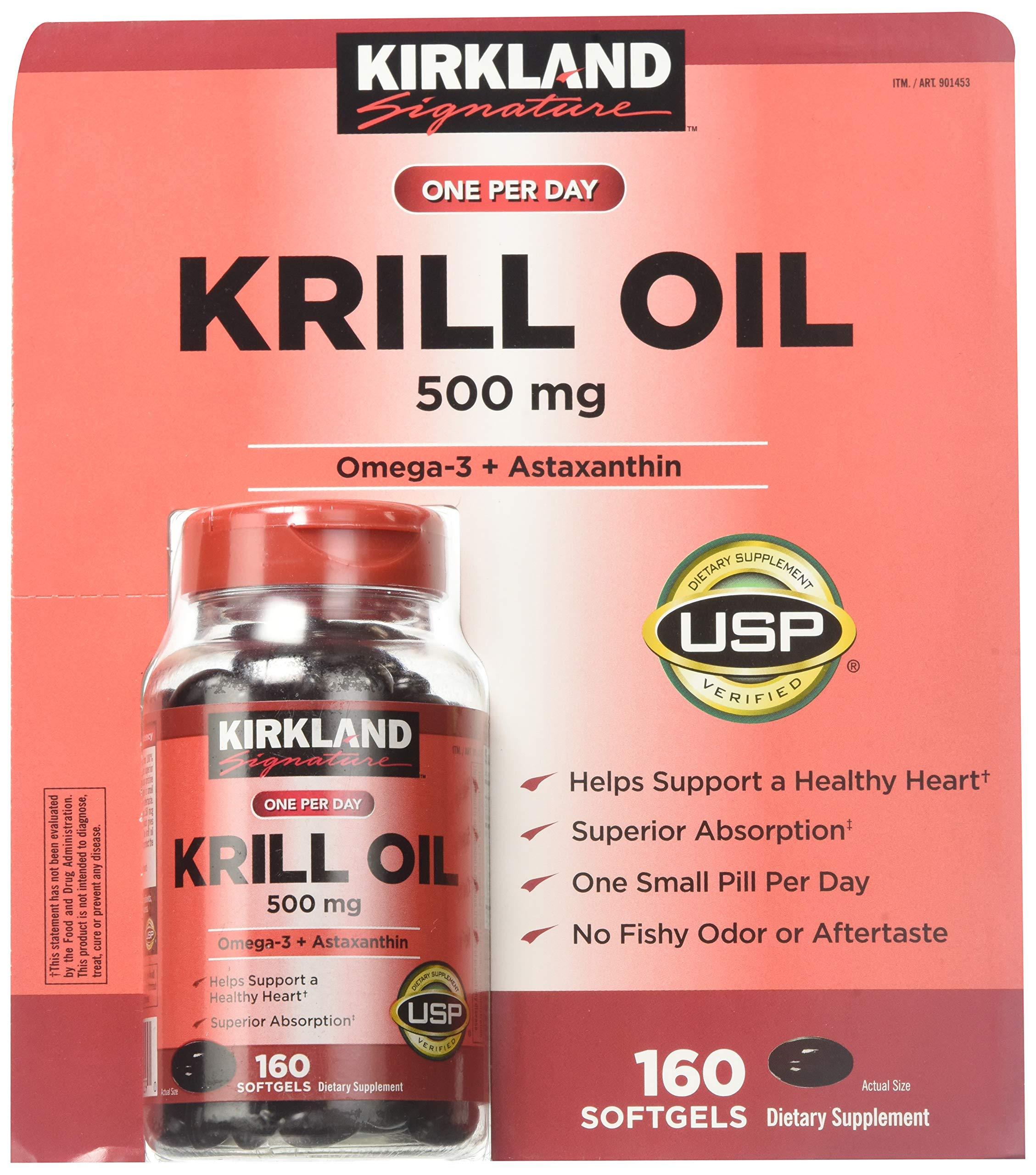 Kirkland Signature Krill Oil 500 mg 160 Softgels (2 Pack) by Kirkland Signature