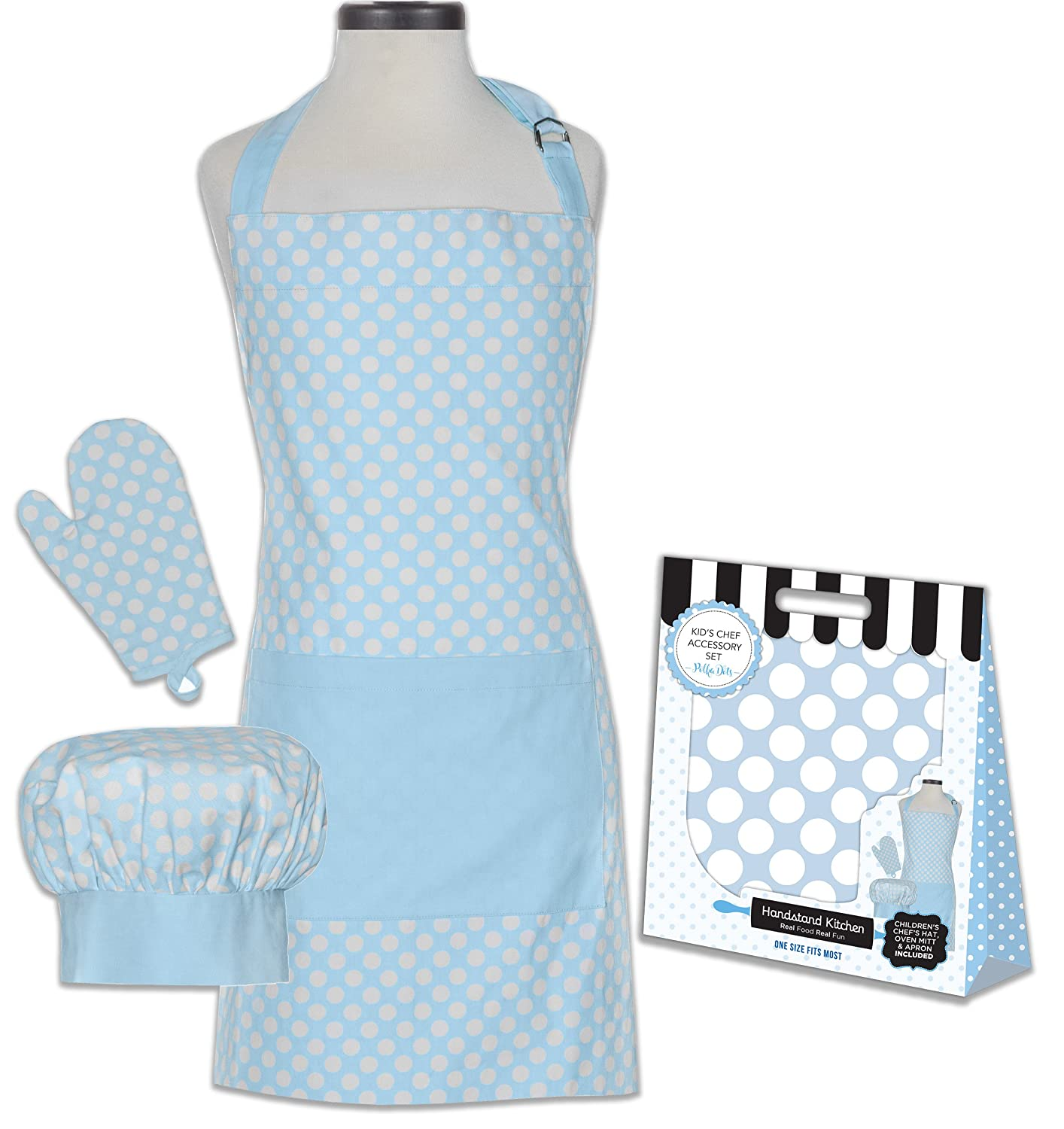 06e0d0af9c Handstand Kitchen Child's Classic Polka Dots 100% Cotton Apron, Mitt and  Chef's Hat Gift Set