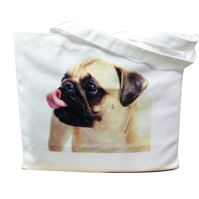 パグLabrador Dog印刷キャンバストートバッグBig GroceryハンドバッグforペットLovers one size PLDTBA001-B B077LKG39F multi-B multi-B