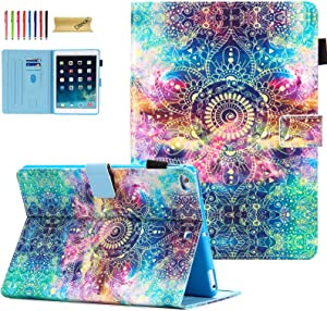 iPad 9.7 Case 2018/2017, iPad 6th/5th Gen Case with Pencil Holder, Dteck Premium Leather Folio Stand Case, Auto Wake/Sleep Magnetic Protective Cover for iPad 9.7 2018/2017, iPad Air 1/2, Noble Flower