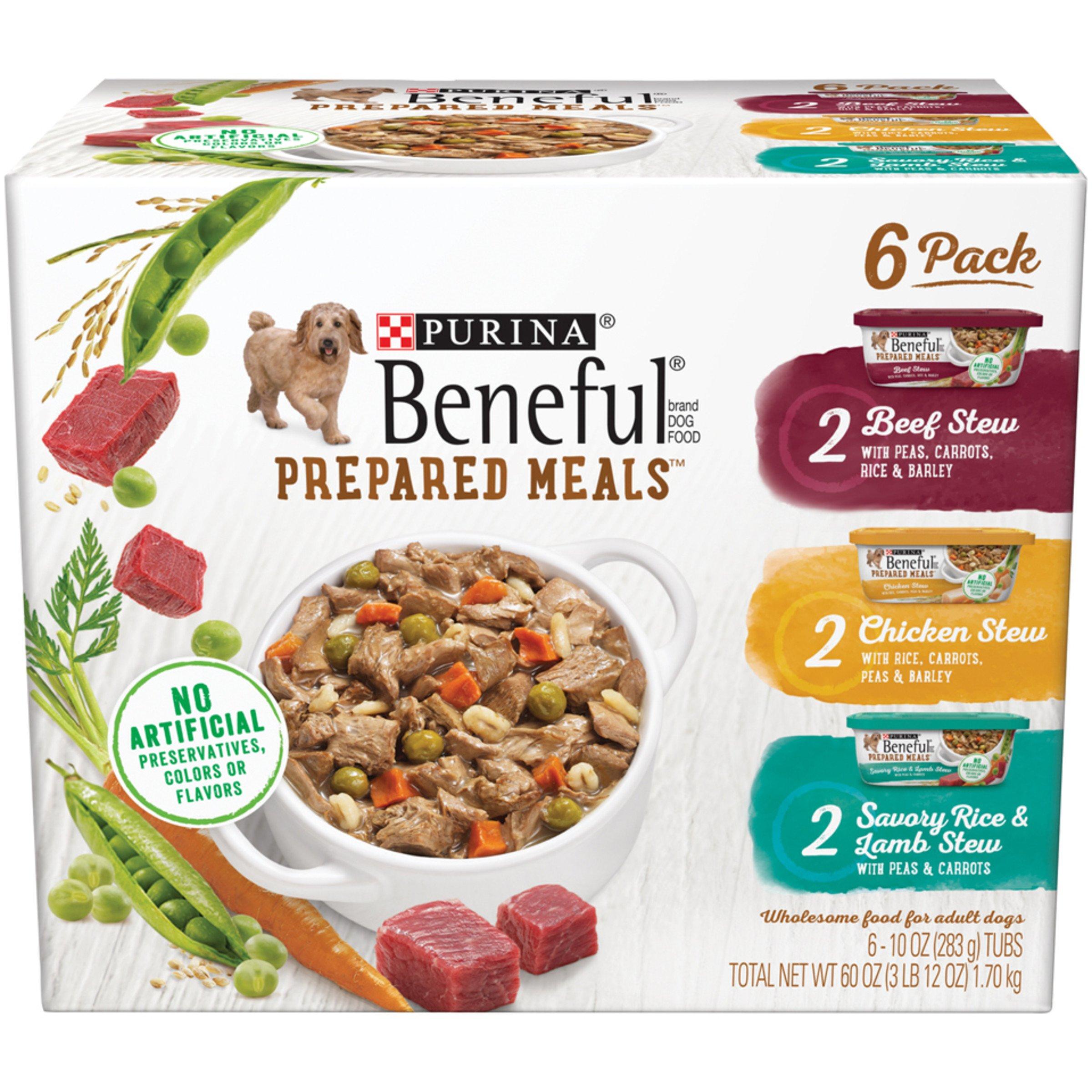 Purina Beneful 11059662 Prepared Meals Stew Variety Pack Wet Dog Food, (6) 10 oz. Tubs
