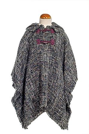 Abrigo niña Poncho Invierno Caliente Fantasia Tweed Lana con Capucha: Amazon.es: Ropa y accesorios