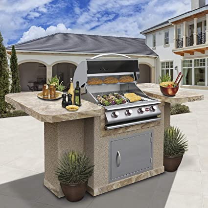 Amazon.com: Cal Flame Bistro 404 Outdoor Kitchen Island with ...