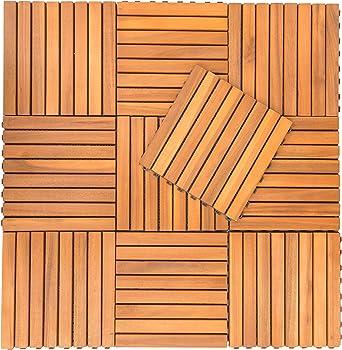 VIFAH V355 Interlocking Acacia Plantation Hardwood Deck Tile 8-Slat Design