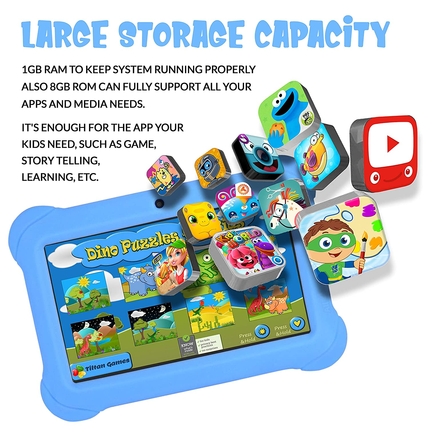 ANOC 7-inch Android Kids Tablet with 1GB RAM/8GB storage (expandable up to  32GB), Dual Camera, Quad Core Processor, Google Play, Full USB, Wi-Fi,