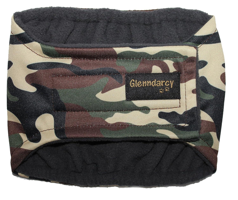 Culotte noire pour chiens mâles incontinents - Couches lavables en option - motif camouflage Glenndarcy Dog Pants