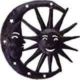 Le Primitif Galleries Haitian Recycled Steel Oil Drum Outdoor Decor, 14 by 14-Inch, Moon and Sun