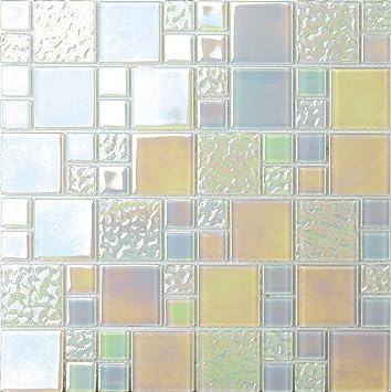 1 Qm Glas Mosaik Wandfliesen Weiss Grun Irisierendes Perlmutt Optik