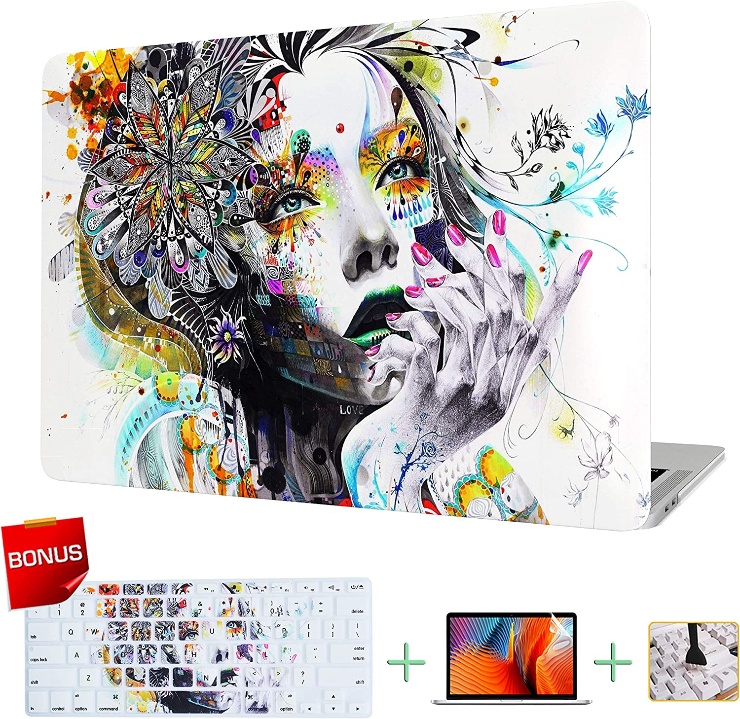 VAESIDA MacBook Air 13 Inch Case, Rubberized Protective Hard Laptop Cover Case Shell Set Only Compatible Mac Air 13'' Release 2010-17 (Older Version Air 13 inch Model: A1369/A1466) (Hand-Drawn Girl)