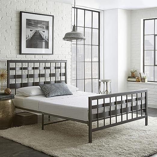Metal Bedroom Platform Bed Frame King Size Modern Headboard Footboard Foundation