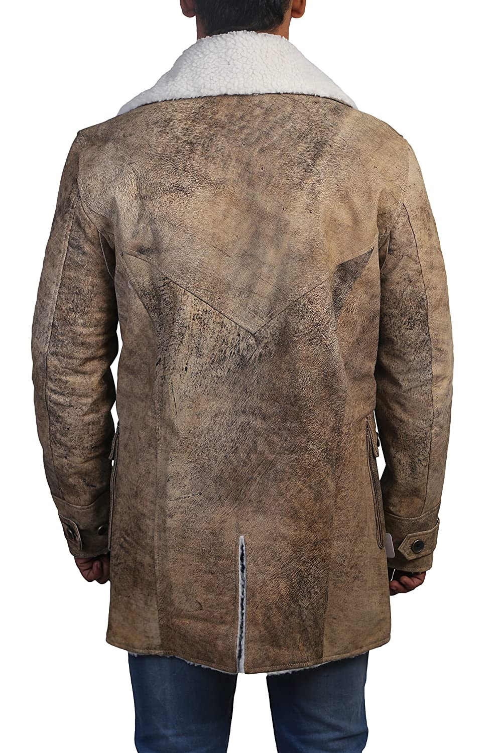 d87055e4e49b Mens Tom Hardy Bane Dark Knight Rises Real Leather Trench Coat Brown at  Amazon Men s Clothing store