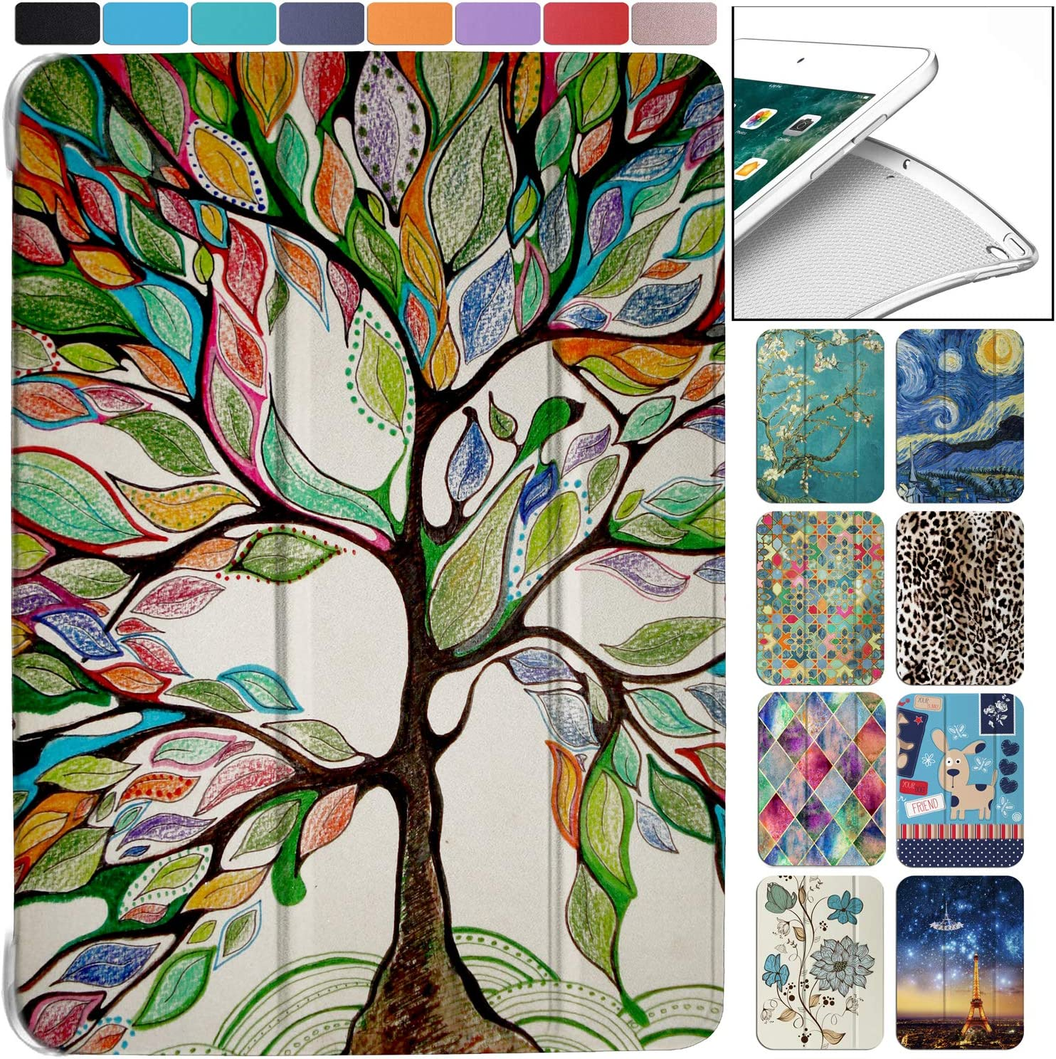 "DuraSafe Cases for iPad PRO 2016-9.7"" MLMP2LL/A MM172LL/A MLMN2LL/A MLMW2LL/A MLMX2LL/A MM192LL/A Ultra Slim Energy Saving Printed Case with Adjustable Stand Feature and Sleek Design - Olivia Tree"