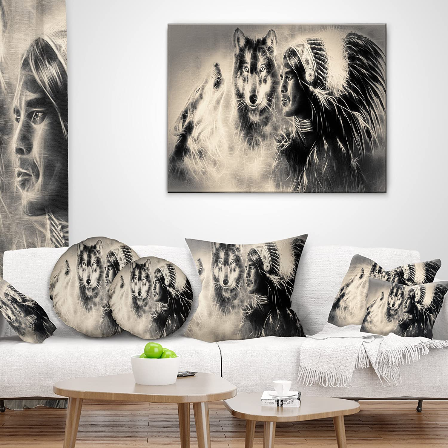 Designart CU7185-18-18 Indian Warrior with Wolves Abstract Cushion Cover for Living Room Sofa Throw Pillow 18 x 18