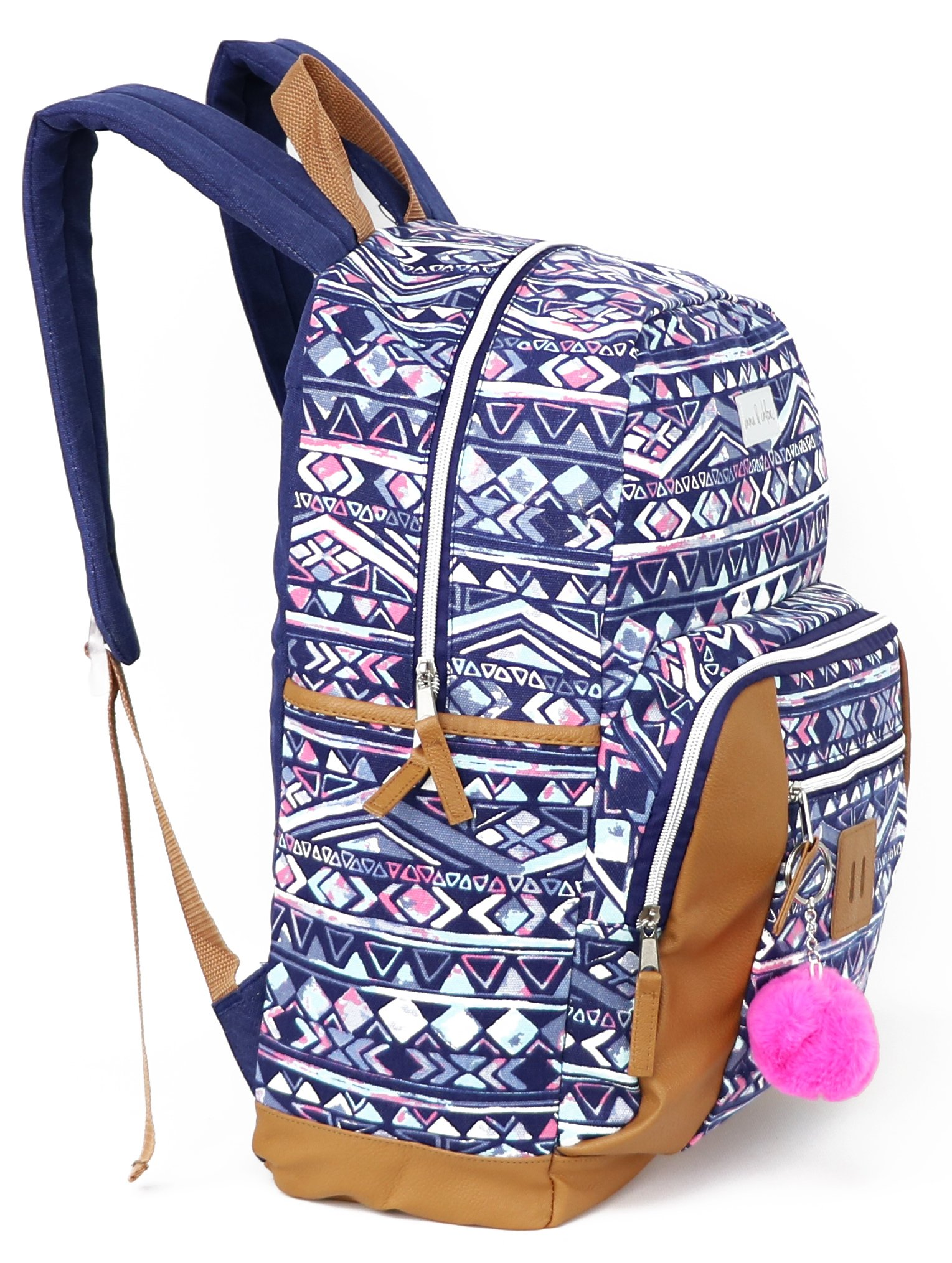 Emma & Chloe Girls Aztec Pom-Pom Vinyl-Base Cotton Backpack (One Size, Aztec Navy) by Trail maker (Image #3)