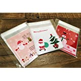 Charmed Christmas wreath plastic Cellophane Cookie treat Bags Self-Adhesive ,75 Counts 3 different colors (santa)