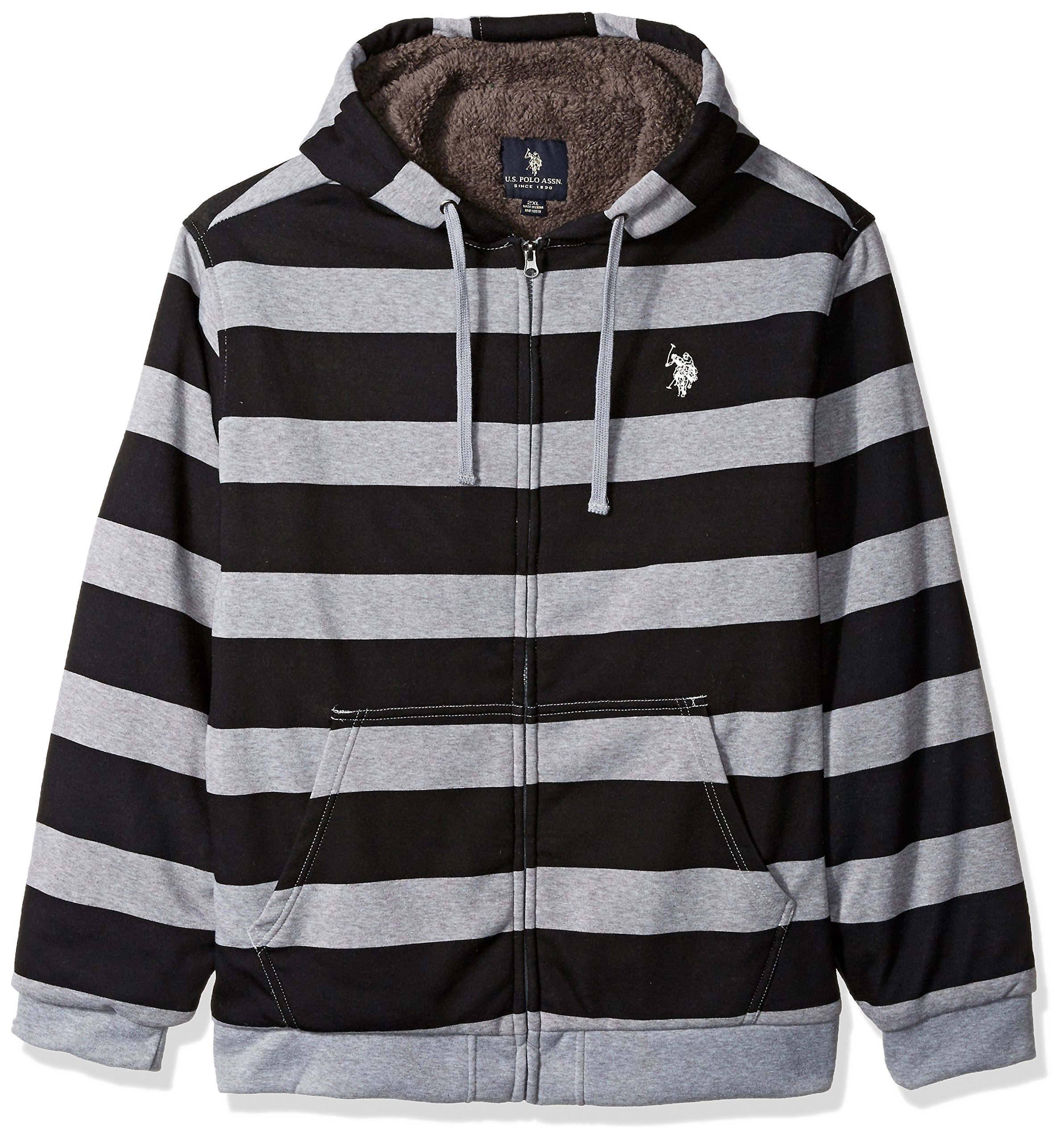 U.S. Polo Assn.. Mens Standard Colorblock Sherpa Lined Fleece Hoodie, Black 5517, 2X