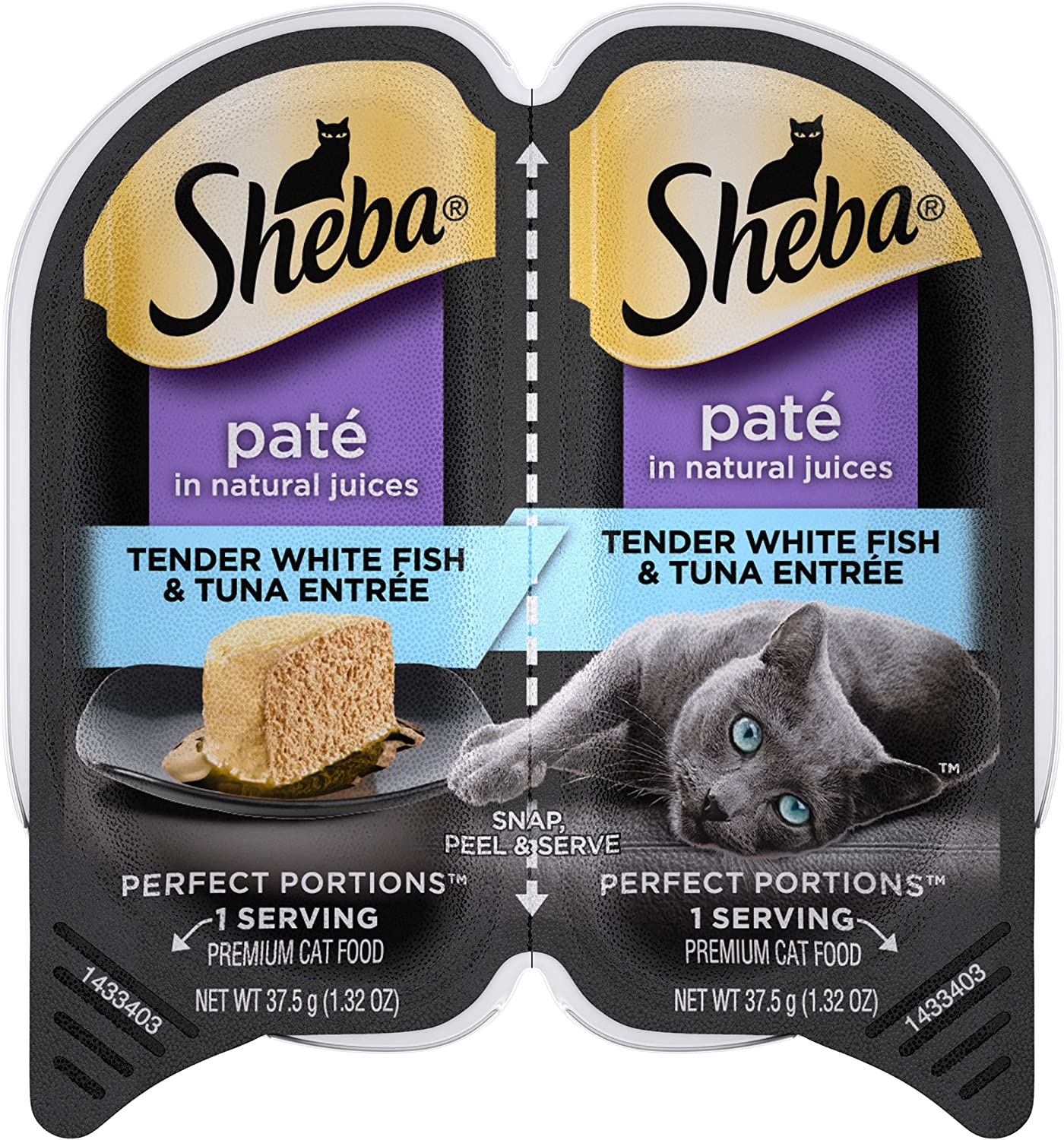 SHEBA PERFECT PORTIONS Soft Wet Cat Food Paté in Natural Juices Tender Whitefish & Tuna Entrée, (24) 2.6 oz. Easy Peel Twin-Pack Trays